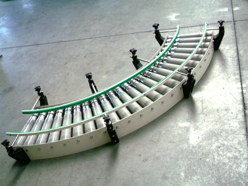 convoyeur à rouleaux courbe